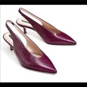 Zara Burgundy Slingback Pointed Heels Size 6.5